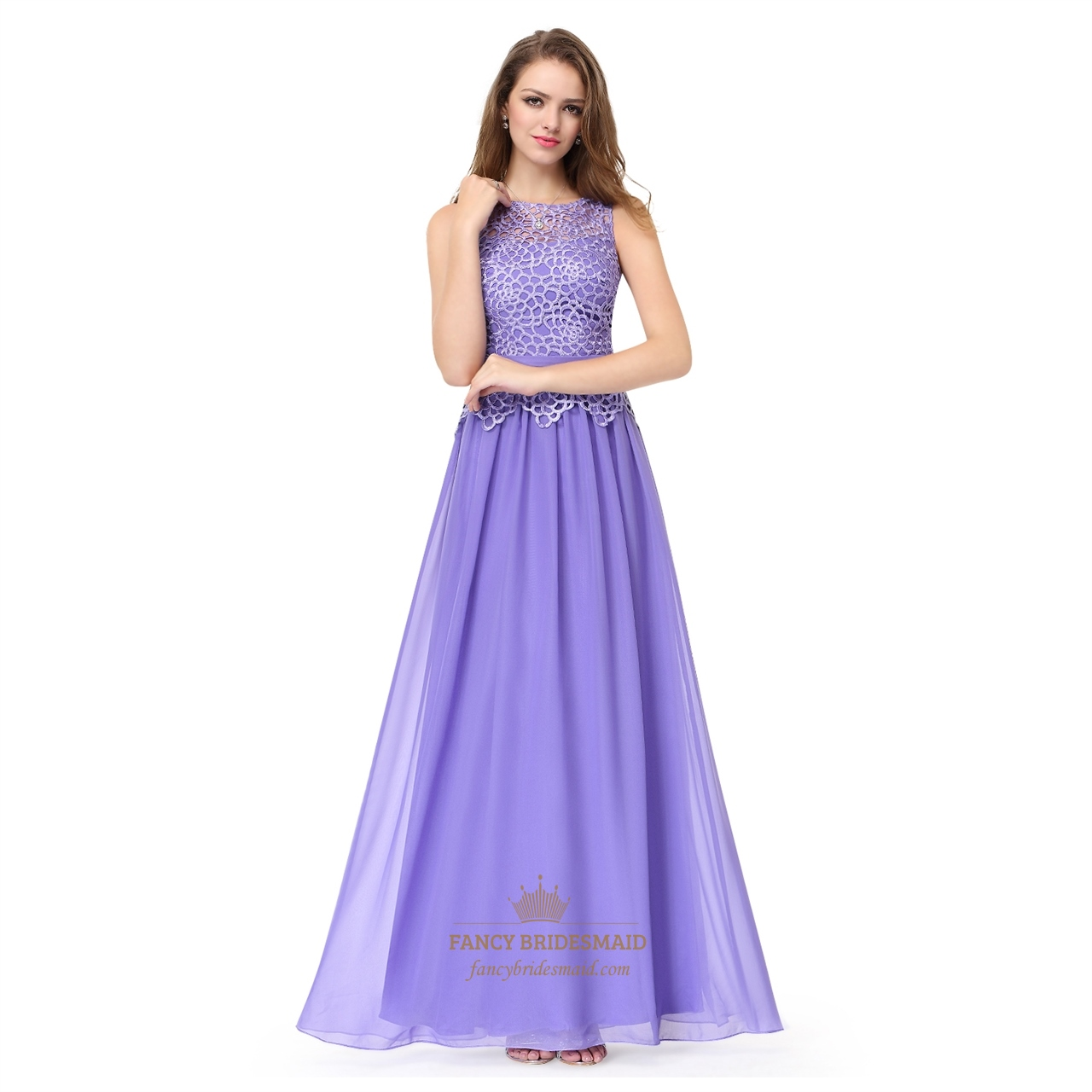 Amethyst lace top chiffon bottom sleeveless illusion for Wedding dress with illusion top