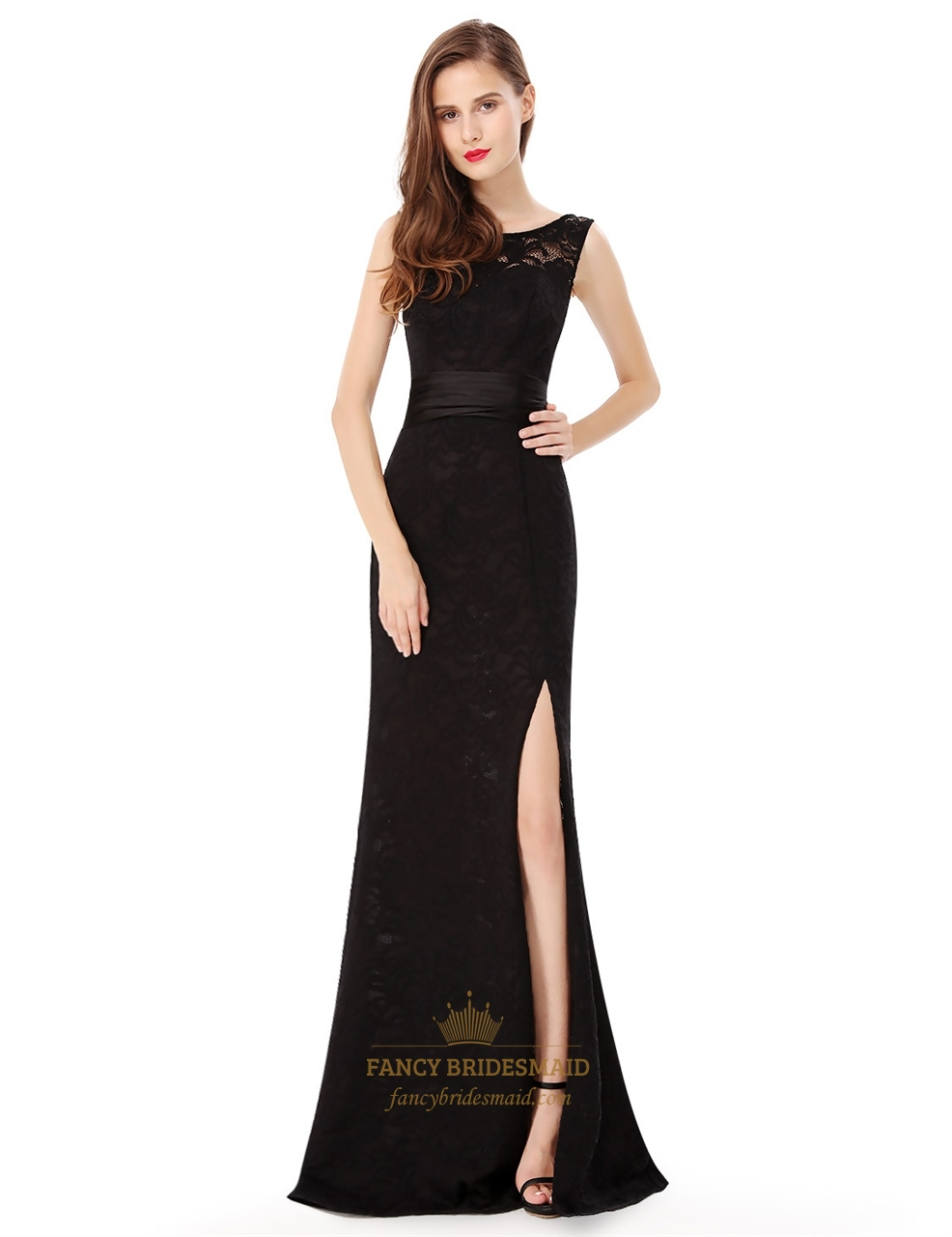 V Back Sleeveless Lace Long Evening Dress Side Spilt With Sash Belt ...