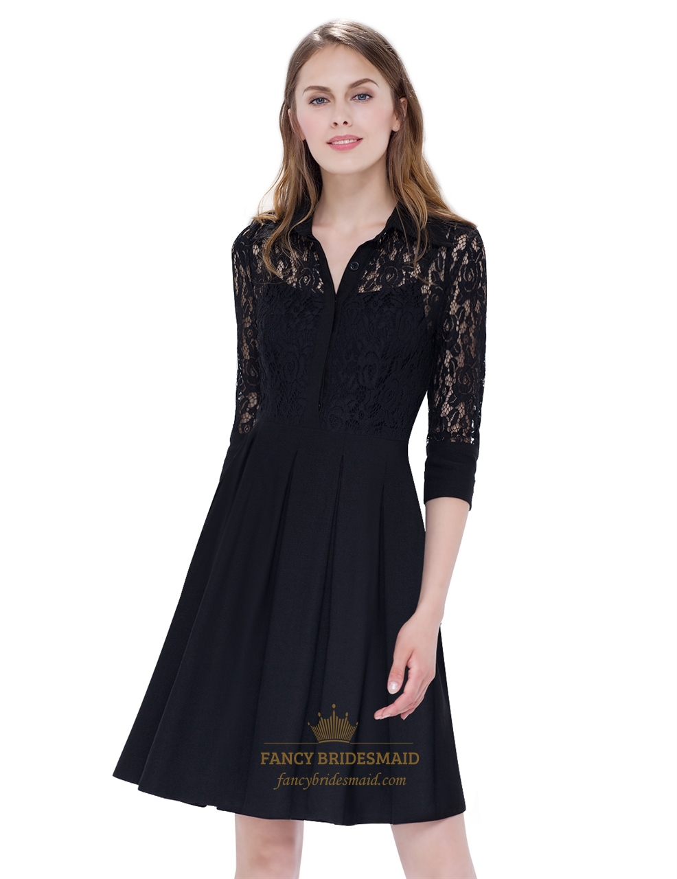 Womens V Neck Little Black Dress Knee Length With Lace ...
