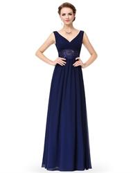 V Neck Sleeveless Lace Sheer Waist Ruched Chiffon Prom Dress Long