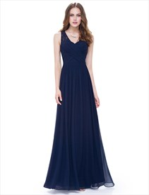 A Line Ruched Chiffon Lace Strap Prom Dress Long With Lace Up Back