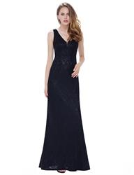 Elegant V-Neck Sleeveless Mermaid Lace Evening Dress Full Length
