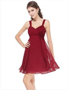 Ruched Bodice Chiffon A-Line Short Bridesmaid Dress With Straps