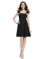 Ruffle Strap Short Bridesmaid Dress With Front Cascade