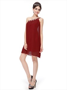 One Shoulder Beaded Chiffon Bridesmaid Dress Knee Length