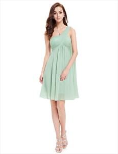 One Shoulder Empire Waist Ruched Top Short Bridesmaid Dress