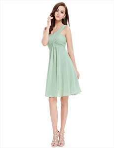 One Shoulder Empire Waist Ruched Top Short Bridesmaid Dress