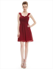 Sweetheart Empire Ruching Bodice Short Chiffon Cocktail Dress With Straps
