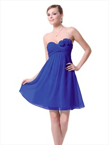 Strapless Empire Ruched Top Bridesmaid Dress Short With Flower