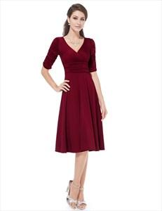 V Neck Half Sleeve Ruched Bodice Tea Length  Women's Casual Dress