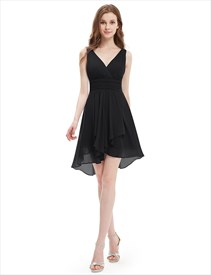 V-Neck Ruched Bodice Short Cocktail Dress With Front Cascade