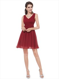 A-Line Sleeveless V-Neck Ruched Chiffon Knee Length Cocktail Dress