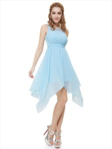 Sleeveless Crinkle Chiffon Beaded High Low Cocktail Dress