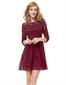 Lace Top Chiffon Bottom Skater Dress Short With Sleeves