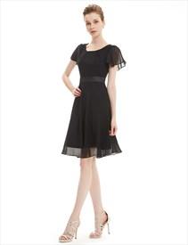 Simple Flutter Sleeve A Line Chiffon Dress Knee Length