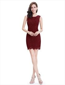Elegant Sleeveless Lace Sheath Cocktail Party Dress Short