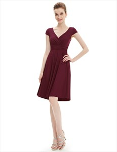V Neck Cap Sleeve A Line Ruched Cocktail Dress Knee Length