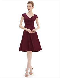 V Neck Cap Sleeve A Line Ruched Cocktail Dress Knee Length