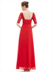 Empire Waist Ruched Long Bridesmaid Dress With Lace Half Sleeve