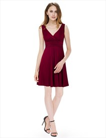 Sleeveless V-Neck Ruched Knee Length Cocktail Dress