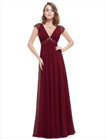 V Neck Lace Cap Sleeve Chiffon Beaded Bridesmaid Dress Long