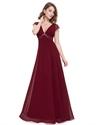 V Neck Lace Cap Sleeve Chiffon Beaded Bridesmaid Dress Long