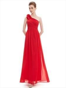 One Shoulder Ruched Chiffon Bridesmaid Dress With Flower Strap