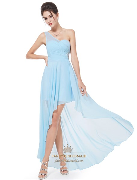 Beaded One Shoulder Ruched Chiffon High-Low Bridal Dress