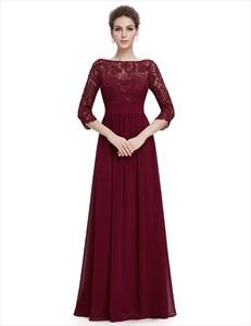 Lace Top Chiffon Bottom 3/4 Sleeve A-Line Prom Dress Long
