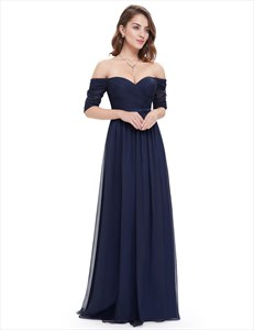 Off The Shoulder Ruched Evening Gowns Long With Sleeves