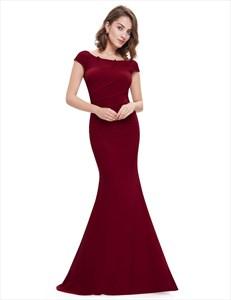 Elegant Cap Sleeve Mermaid Evening Gown Side Ruched