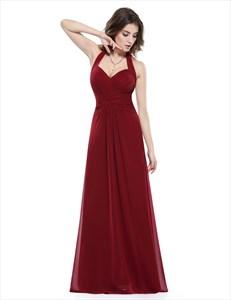 Halter Sweetheart Ruched Bodice Backless Chiffon Bridal Dress Long