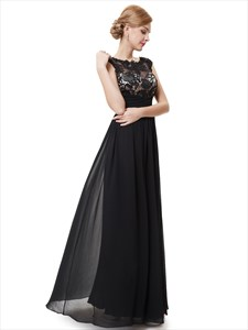 Sheer Floral Applique Top Ruched Chiffon Prom Dress Long