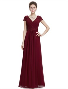 V Neck Cap Sleeve Ruched Empire Bridal Dress With Applique