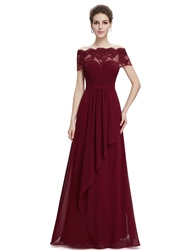Off The Shoulder Beaded Applique Ruched Empire Prom Dress