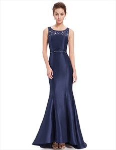 Beaded Mermaid Long Evening Gown With Lace Embellished Back
