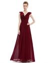 V-Neck A-Line Ruffle Collar Chiffon Bridal Dress Long