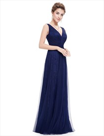 V Neck Sleeveless Lace Ruched Bodice Tulle Evening Dress