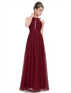 Beaded Embellished Lace Top Chiffon Dress With Keyhole Front