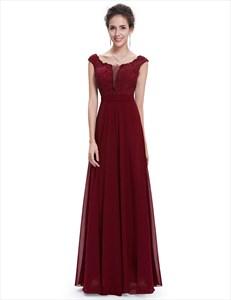 Illusion Lace Bodice Chiffon Bottom Cap Sleeve Prom Dress