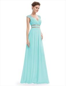 Sweetheart Cap Sleeve Beaded  Waist Empire Bridesmaid Dress