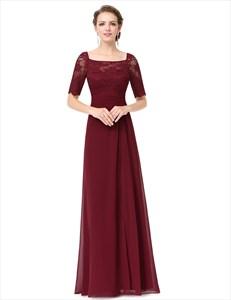 Half Sleeve Lace Top Chiffon Bottom Bridal Dress Side Split