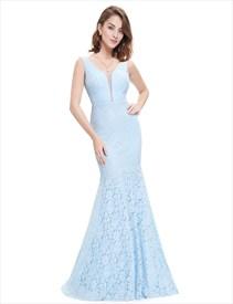 Sheer Top Sleeveless V Neck Lace Mermaid Evening Dress