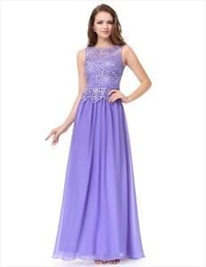 Lace Mesh Bodice Chiffon Bottom A Line Prom Dress Long