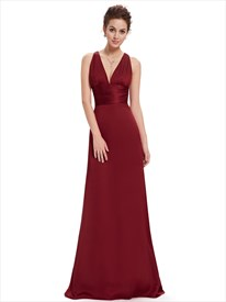 V Neck Ruched Waist Twist Back A Line Chiffon Evening Gown
