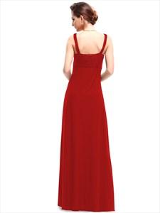 V-Neck Ruched Bodice A-Line Empire Bridal Dress Long
