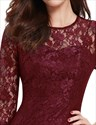 Half Sleeve Lace Illusion Sheath Cocktail Dress Knee Length