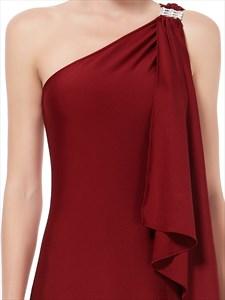 One Shoulder Embellished A Line Chiffon Prom Dress Long