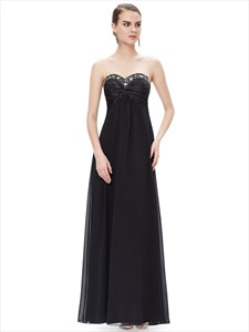 Strapless Sleeveless Beaded Ruched Empire Prom Dress Long