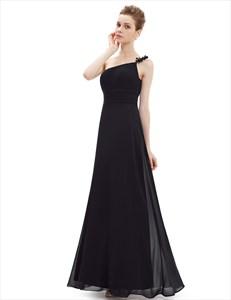 One Shoulder Floral Strap A Line Ruched Long Evening Dress